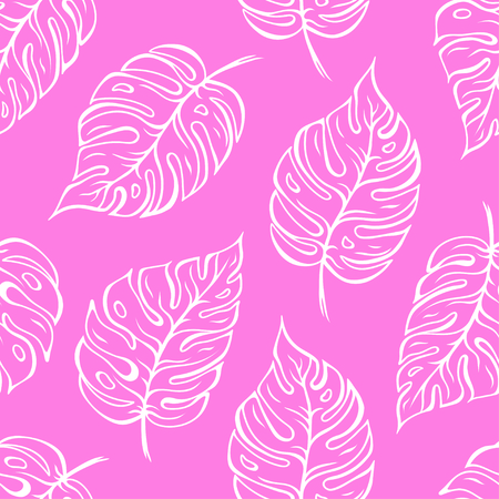Monstera leaves seamless pattern over pink background. Vector illustration  イラスト・ベクター素材