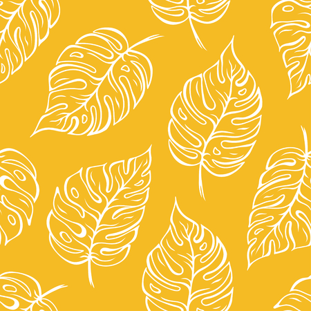 Monstera leaves seamless pattern over yellow background. Vector illustration
