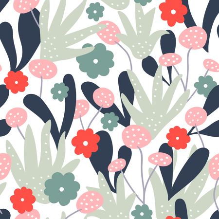 Abstract modern floral pattern background. Vector illustration