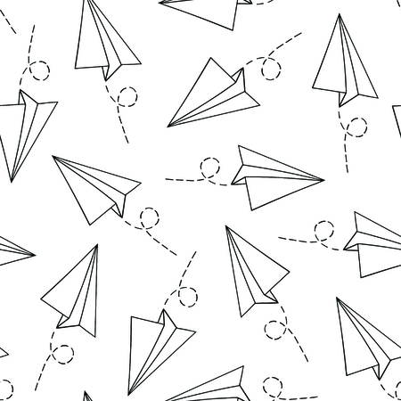 Seamless pattern with vector paper airplane over white. Travel, route symbol