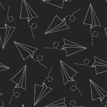 Seamless pattern with vector paper airplane over black. Travel, route symbol Ilustração