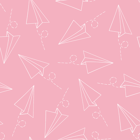 Seamless pattern with vector paper airplane over pink. Travel, route symbol Ilustração