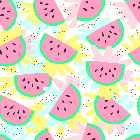 Cute watermelon slice seamless pattern background. Vector illustration 向量圖像