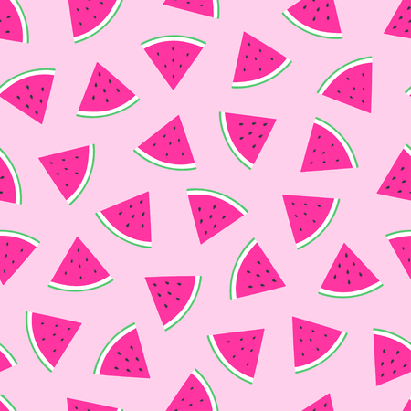 Cute watermelon slice seamless pattern over pink background. Vector illustration Illustration