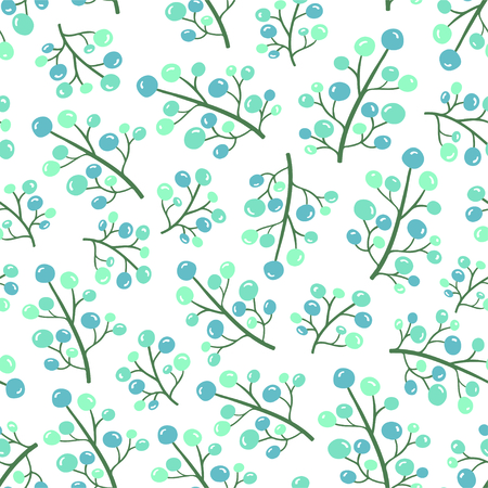 Simple blue floral seamless pattern. Vector illustration