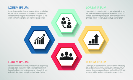Four points process chart. Business data.Creative concept for infographic, templates, presentation, report. Can be used for topics like planning, management, teamwork. Illustration