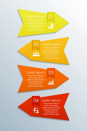 Moderne Pfeil-Infografik-Elemente. Vektorvorlage für Infografiken mit 4 Schritten, Optionen, Teilen. Banner für Workflow-Layout, Broschüre, Diagramm, Diagramm, Bericht, Anzahl- und Schrittoptionen, Webdesign