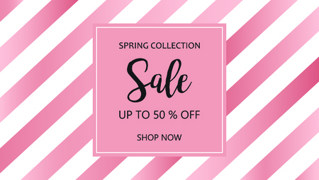 Sale banner template for online shop. Vector word sale on striped pink background. Up to 50% off discount tag with shop now button