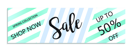 Up to 50% off Sale. Discount offer price sign. Special offer symbol. Save 50 percentages. Striped background Illusztráció