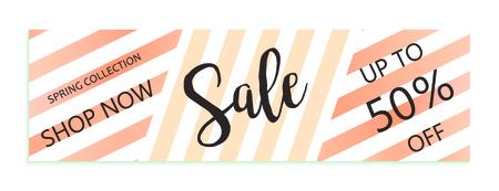 Up to 50% off Sale. Discount offer price sign. Special offer symbol. Save 50 percentages. Striped modern background Vektorgrafik