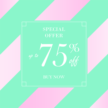 Up to 75% off Sale. Discount offer price sign. Special offer symbol. Save 75 percentages. Striped blue background Illusztráció