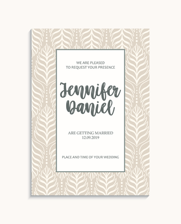 Vintage wedding invitation templates. Cover design with leaves ornaments. Vector decorative backgrounds Illustration
