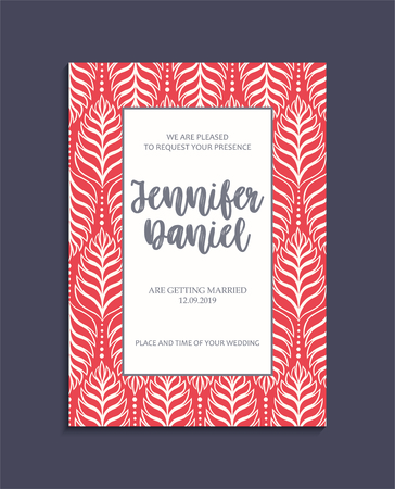 Vintage wedding invitation templates. Cover design with red leaves ornaments. Vector decorative backgrounds