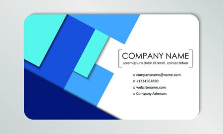 Plantilla de tarjeta de visita moderna. Tarjetas de visita con el logo de la empresa. Diseño plano azul abstracto. Ilustración vectorial Logos