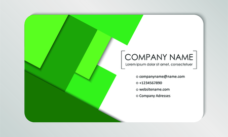 Modern business card template. Business cards with company logo. Abstract green flat design. Vector illustration Foto de archivo - 130059791