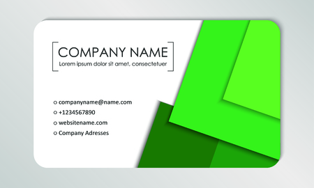 Modern business card template. Business cards with company logo. Abstract green flat design. Vector illustration Banque d'images - 130059799