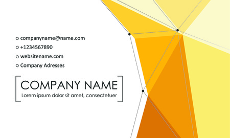 Modern business card template. Business cards with company logo. Abstract yellow flat design. Vector illustration Foto de archivo - 130059801