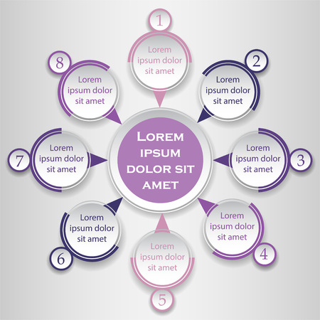 Violet vector circle infographic design element. Template for diagram, graph, presentation and chart. Business concept with 4 options, parts, steps or processes