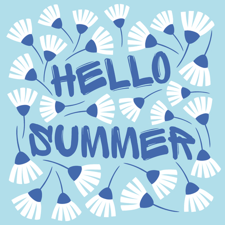 Cute summer blue floral card template