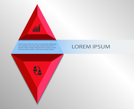 Red infographics Rhombus design template with business icons, process diagram and place for text