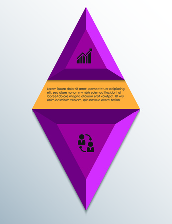 Violet infographics Rhombus design template with business icons, process diagram and place for text