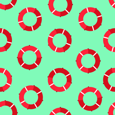 Red lifebuoy seamless pattern over blue background. Vector illustration