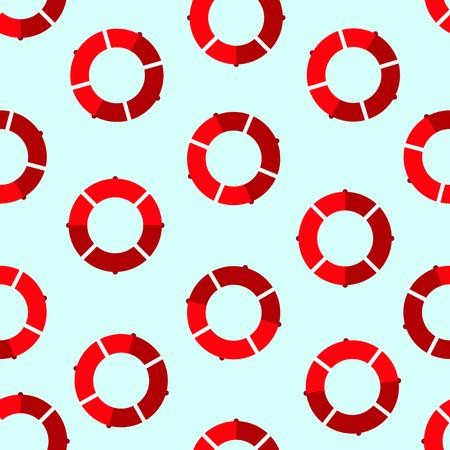 Red lifebuoy seamless pattern over light blue background. Vector illustration  イラスト・ベクター素材
