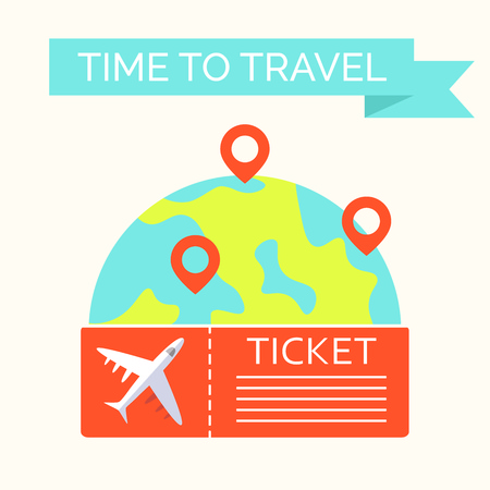 Time to travel template. Flat design of world map or Earth with flying ticket. Around the world travelling concept. Vector illustration Ilustração