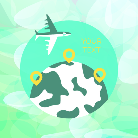 Time to travel template. Flat design of world map or Earth. Around the world travelling concept. Vector illustration Ilustração