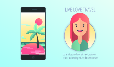 Exotic Island with Palm Trees on Smartphone. Live Love Travel concept. Vector illustration