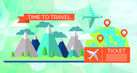 Time to travel concept. Airplane flying above mountain peaks. Vector illustration
