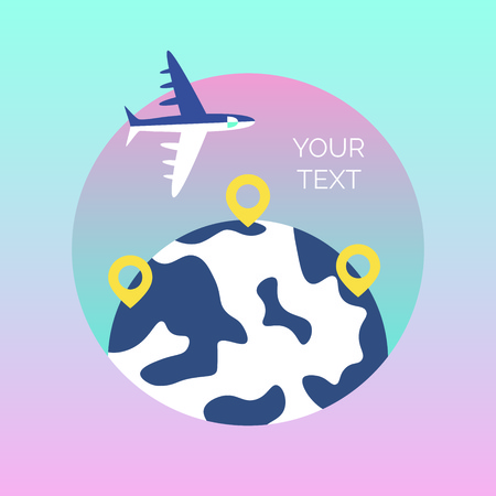 Time to travel template. Flat design of world map or Earth. Around the world travelling concept. Vector illustration 일러스트