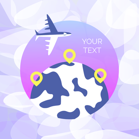 Time to travel template. Flat design of world map or Earth. Vector illustration 일러스트