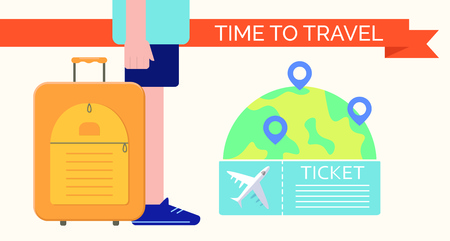 Man with suitcase ready to travel. Travel set. Vector illustration Ilustração