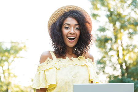 Photo of brunette american woman 20s wearing straw hat using laptop while sitting on bench in park Stock Photo