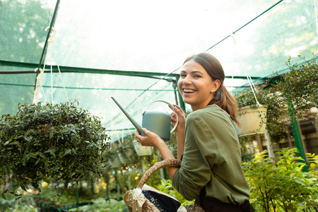 Attractive beautiful woman gardener holding water can standing near flowers in greenhouse