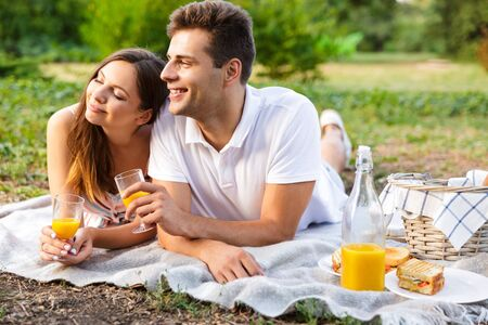 Happy young couple spending good time together, having picnic at the park, kissing, toasting