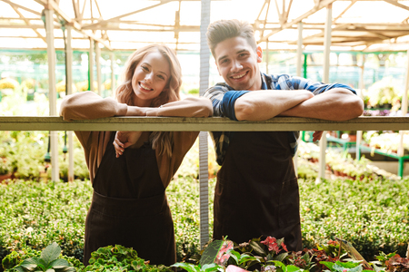 Photo of emotional happy young two colleagues gardeners at the workspace over plants. Stock Photo