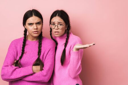 Image of two offended teenage girls with braids in casual clothes standing with arms crossed isolated over pink background