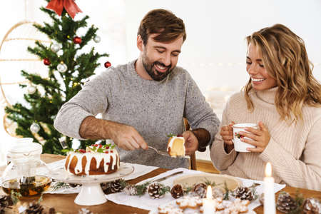 Charming cheerful couple eating pie while having Christmas dinner in cozy room