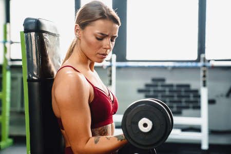 Image of concentrated serious young woman fitness coach making sport exercise for arms with dumbbells in gym Banque d'images