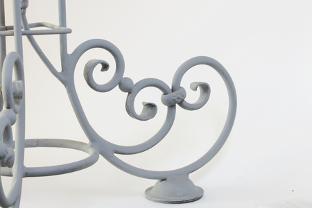 forgery: Forged metal products. Flowers and leaves are forged and coated with a primer. design elements. On a white background.