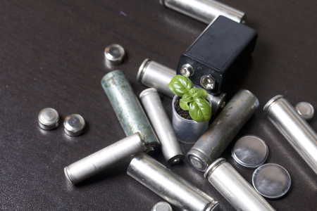 shiny car: Batteries and green sprout. Recycling and disposal of batteries. Care for ecology. Stock Photo