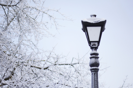 Old-fashioned lantern in a winter park. Everything around is covered with thick frost.