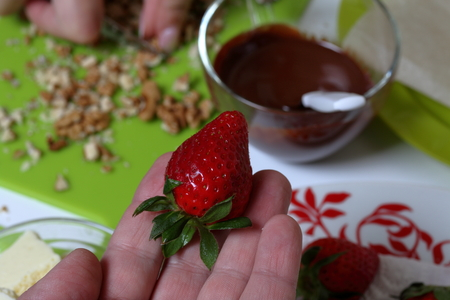 Strawberries on the palm. Near melted black chocolate. Woman chops nuts. Cooking strawberries glazed in chocolate.