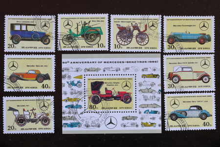 Postage stamps of the Republic of Korea. Released to the 60th anniversary of Mercedes-Benz (1926-1986). Depicted various cars lineup.