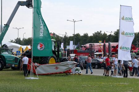 MINSK, MINSK, BELARUS 6 JUNE 2019, Exposition at the exhibition BELAGRO 2019. Tractors and loaders.