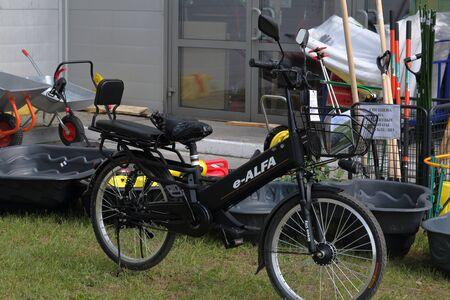 MINSK, MINSK, BELARUS 6 JUNE 2019, Exposition at the exhibition BELAGRO 2019. New electric bicycle. Redakční