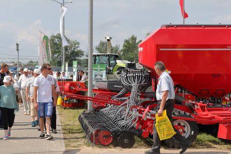 MINSK, MINSK, BELARUS 6 JUNE 2019, Exposition at the exhibition BELAGRO 2019. Various agricultural equipment.