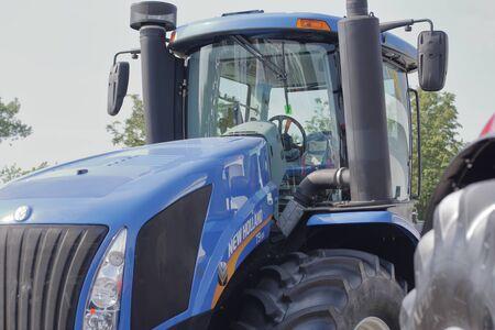 MINSK, MINSK, BELARUS 6 JUNE 2019, Exposition at the exhibition BELAGRO 2019. Energy-efficient tractor close-up.